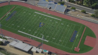 DCA05_151 - 4K stock footage aerial video of orbiting a soccer practice, Agoura High School, Agoura Hills, California