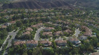 DCA05_155 - 4K stock footage aerial video of flying over residential neighborhoods, Calabasas, California