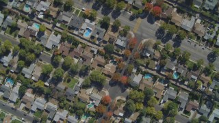 DCA05_158 - 4K stock footage aerial video of a bird's eye view of residential neighborhoods, West Hills, California