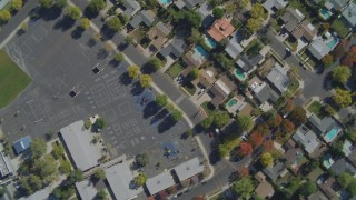 DCA05_159 - 4K stock footage aerial video of a neighborhood, revealing Shepherd of the Valley School, West Hills, California
