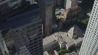 DCA06_008 - 4K stock footage aerial video flyby US Bank Tower, tilt to reveal Los Angeles Public Library, Downtown Los Angeles, California