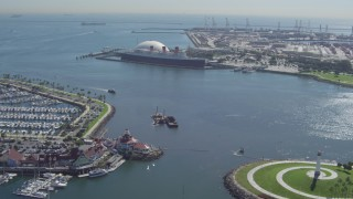 DCA06_022 - 4K stock footage aerial video of approaching the Queen Mary from Downtown Long Beach, California