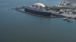 DCA06_023 - 4K stock footage aerial video of approaching the RMS Queen Mary, Long Beach, California