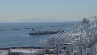 DCA06_029 - 4K stock footage aerial video of an oil tanker near Port of Long Beach, California