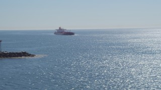 DCA06_036 - 4K stock footage aerial video of an oil tanker sailing toward Long Beach, California