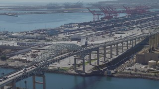 DCA06_038 - 4K stock footage aerial video of Terminal Island and the Port of Long Beach, California