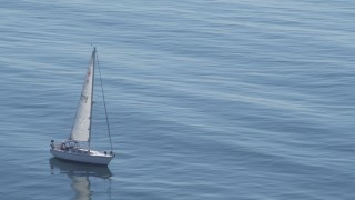 DCA06_050 - 4K stock footage aerial video of flying away from sailboat, San Pedro, California