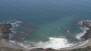 DCA06_052 - 4K stock footage aerial video flyby cove and cliffs in Rancho Palos Verdes, California