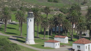 DCA06_056 - 4K stock footage aerial video orbit the Point Vicente Lighthouse, Rancho Palos Verdes, California