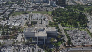 DCA06_068 - 4K stock footage aerial video orbiting the VA West Los Angeles Healthcare Center, West Los Angeles, California