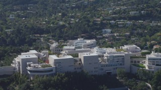 DCA06_069 - 4K stock footage aerial video of flying by the J. Paul Getty Museum, Los Angeles, California