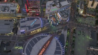 DCA07_019 - 4K stock footage aerial video of orbiting Staples Center, Nokia Theater and LA Live, Downtown Los Angeles, California, twilight