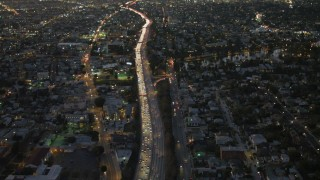 DCA07_029 - 4K stock footage aerial video of flying over Highway 101 in Echo Park, California, night
