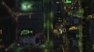 DCA07_042 - 4K stock footage aerial video of bird's eye view following West Grand Avenue, Wells fargo Center, Disney Concert Hall, Downtown Los Angeles, California, night