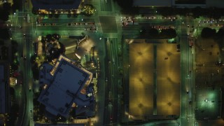 DCA07_043 - 4K stock footage aerial video of bird's eye view following South Grand Avenue, becomes North Grand Avenue, Downtown Los Angeles, California, night