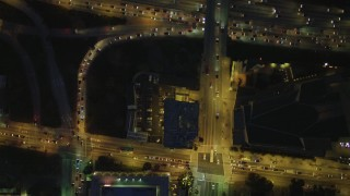 DCA07_044 - 4K stock footage aerial video of bird's eye view following North Grand Avenue to Highway 101, Downtown Los Angeles, California, night