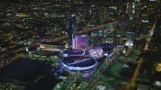 DCA07_062 - 4K stock footage aerial video of Staples Center, The Ritz-Carlton, JW Marriott, Nokia Theater, LA Live, Downtown Los Angeles, California, night