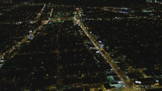 DCA07_080 - 4K stock footage aerial video of flying by Beverly Center, Beverly Hills, California, night
