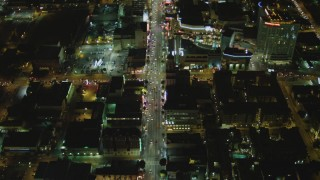 DCA07_089 - 4K stock footage aerial video of Hollywood Blvd, reveal Hollywood and Highland Center, Hollywood, California, night