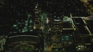 DCA07_099 - 4K stock footage aerial video of approaching skyscrapers, Century City, California, night