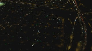DCA07_119 - 4K stock footage aerial video of Interstate 710 and Interstate 105 interchange, Lynwood, California, night