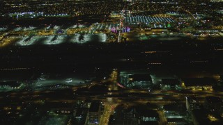 DCA07_165 - 4K stock footage aerial video of tracking passenger jet taxiing, LAX (Los Angeles International Airport), Los Angeles, California, night