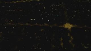 DCA07_181 - 4K stock footage aerial video of panning across residential neighborhood, Woodland Hills, California, night
