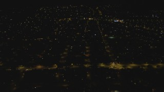 DCA07_183 - 4K stock footage aerial video of flying over suburbs, Woodland Hills, California, night