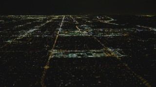 DCA07_187 - 4K stock footage aerial video of Fallbrook Center, Westfield Topanga Mall, West Hills, California, night