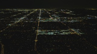 DCA07_188 - 4K stock footage aerial video of Fallbrook Center, Westfield Topanga Mall, West Hills, California, night