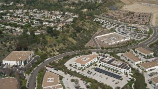 DCA08_002 - 4K stock footage aerial video of neighborhoods and office buildings, Mission Valley, California