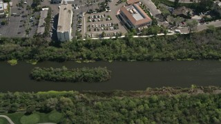 DCA08_007 - 4K stock footage aerial video of the San Diego River, Mission Valley, California
