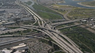 DCA08_008 - 4K stock footage aerial video of the Interstate 5 and 8 Interchange, Old Town San Diego, California