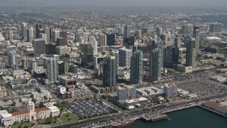 DCA08_011 - 4K stock footage aerial video of skyscrapers in Downtown San Diego, California