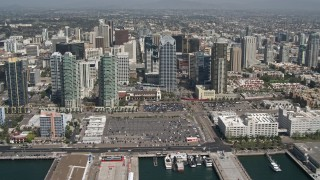 DCA08_012 - 4K stock footage aerial video flyby skyscrapers and office buildings in Downtown San Diego, California