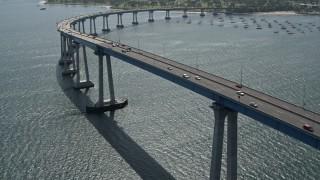 DCA08_016 - 4K stock footage aerial video approach and orbit the Coronado Bridge, San Diego, California