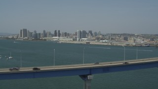 DCA08_018 - 4K stock footage aerial video of Coronado Bridge and the city skyline, Downtown San Diego, California