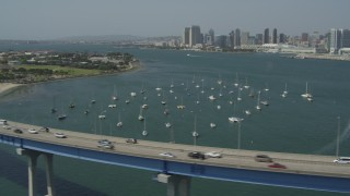 DCA08_019 - 4K stock footage aerial video pan across Coronado Bridge to reveal Coronado, San Diego, California
