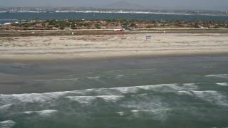 DCA08_026 - 4K stock footage aerial video of ocean waves and beach in Coronado, California