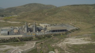 DCA08_095 - 4K stock footage aerial video of orbiting a power plant in Otay Mesa, California