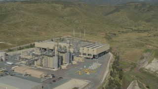 DCA08_096 - 4K stock footage aerial video orbit a power plant in Otay Mesa, California