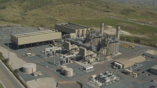 DCA08_097 - 4K stock footage aerial video of an orbit of a power plant in Otay Mesa, California