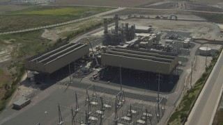DCA08_099 - 4K stock footage aerial video of an orbit around a power plant in Otay Mesa, California