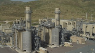 DCA08_101 - 4K stock footage aerial video flyby power plant buildings, Otay Mesa, California
