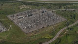 DCA08_121 - 4K stock footage aerial video orbit an electricity substation, Chula Vista, California