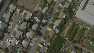 DCA08_125 - 4K stock footage aerial video of a bird's eye of suburban tract homes, Spring Valley, California