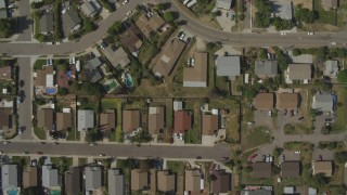 DCA08_126 - 4K stock footage aerial video of a bird's eye of suburban homes, Spring Valley, California