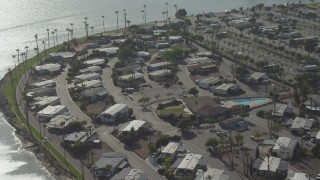 DCA08_144 - 4K stock footage aerial video of a waterfront RV park, Pacific Beach, California