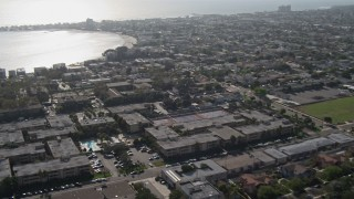 DCA08_146 - 4K stock footage aerial video of panning across the bay and coastline, Mission Bay, California