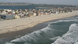 DCA08_149 - 4K stock footage aerial video of beachfront homes, Mission Beach, California